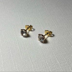 💥3 for $25💥 Vintage Gold Tone Single Rhinestone Stud Earrings